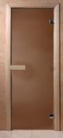 Стеклянная дверь для бани (Матовая бронза 190х70см, полн. компле