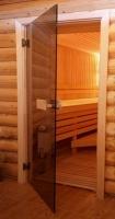 Стеклянная дверь для бани АКМА Матовая бронза 180х70см,